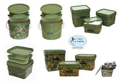 Lemco Carp Fishing Bait Bucket with Tray - Green or Camo - All Sizes