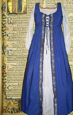 Irish Style Medieval Gown Ovrdrs Renaissance SCA Garb Floral Blue Overdress L XL