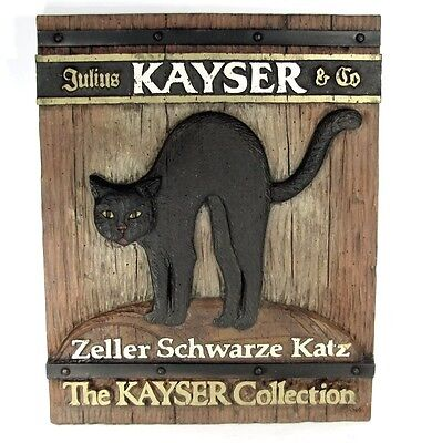 Vtg ZELLER SCHWARZE KATZ Advertising Sign Wine Embossed Black Cat Plaque Rare