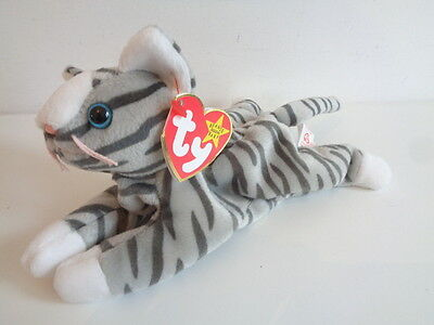 "Retired Ty Beanie Baby - 7"" Prance - Grey Striped Cat 1997 - New With Tag"