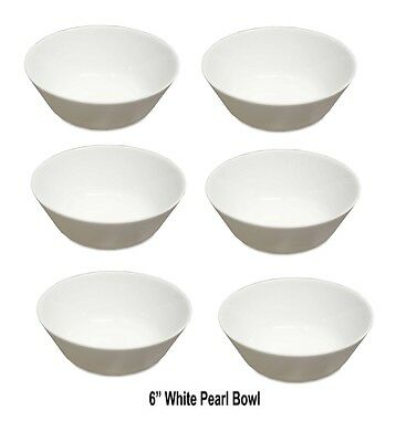 6 x Pearl White Bowl White Oatmeal Cereal Breakfast Bowls - White Soup Bowl 6""
