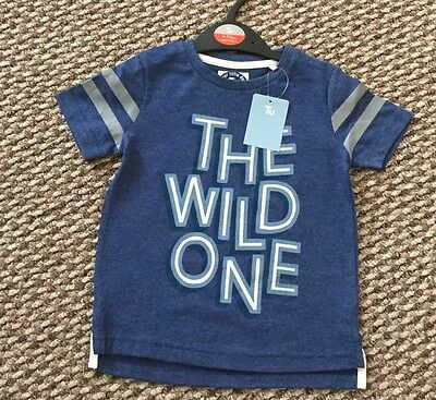BNWT BABY BOYS SHORT SLEEVED BLUE T SHIRT THE WILD ONE SIZE 12-18m