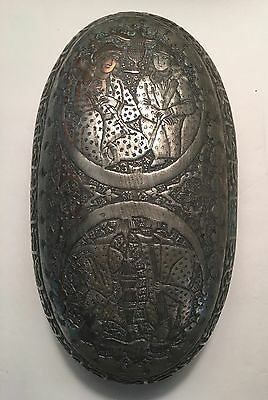 Antique Islamic Persian Qajar Sufi Dervish Tin Copper Kashkul Begging Bowl