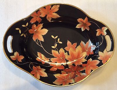 Rare Vtg Noritake Japan Hand Painted Green Wreath M Black Leaf Gilt C 1914 -1940