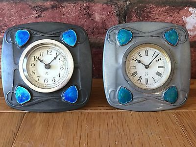 Rare Pair 1904 Art Nouveau Liberty & Co Archibald Knox Tudric 0492 Table Clocks