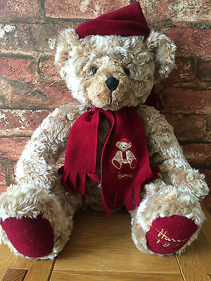 "Delightful 1999 Harrods 18"" Golden Brown & Burgundy Commemorative Teddy Bear"