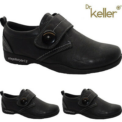 Ladies Womens Black Strap Fastening Casual Comfort Dr Keller Walkers Shoes Boots
