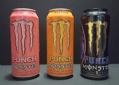 Monster Energy Drink Full 437 ml Cans Khaos Punch, Pipeline Punch, Mad Dog Punch