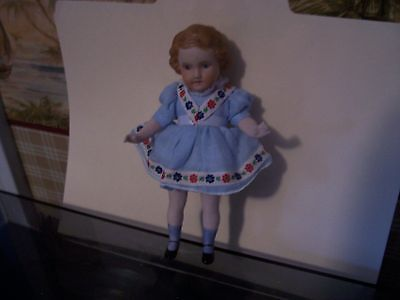 """Vintage Bisque Doll blue dress flowers 7"""" molded painted lace shoes moveable"""