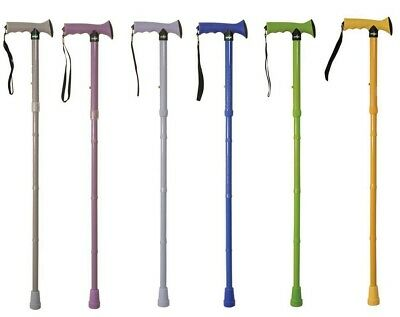 Aidapt Folding Adjustable Walking Stick with Rubber Handle (Choose Colour)