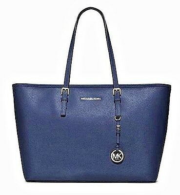 Michael Kors Jet Set Travel Medium T Z Multifunction Tech Travel Tote  Navy Blue