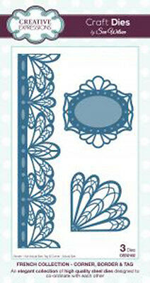 Creative Expressions FRENCH COLLECTION Corner Border Tags Die CED2102 Sue Wilson