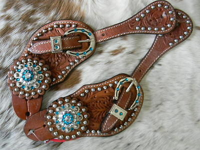 Tooled Leather Ladies Western Spur Straps TEAL Bling Horseshoe Hardware New