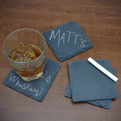 SET OF 4 x GREY NATURAL SLATE STONE SQUARE COASTER SET GLASS 10 x 10 cm
