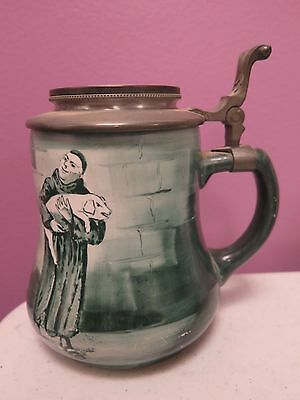Antique Old O'Hara Dial Co Lidded Stein Waltham Mass Monk Obelisk CP NY Paris