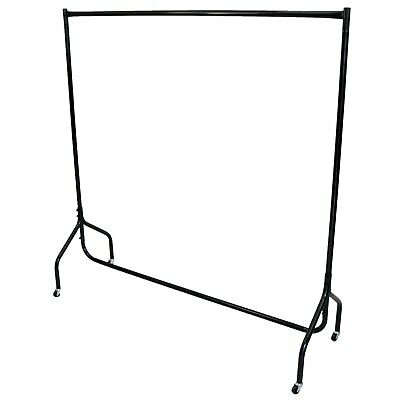 New 5ft Garment Clothes Rail Super Heavy Duty All Metal Black