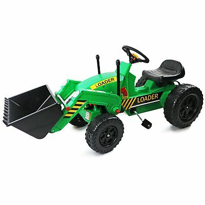NEW! Childrens Pedal Ride on Green Super Kids Bucket Loader Farm Tractor