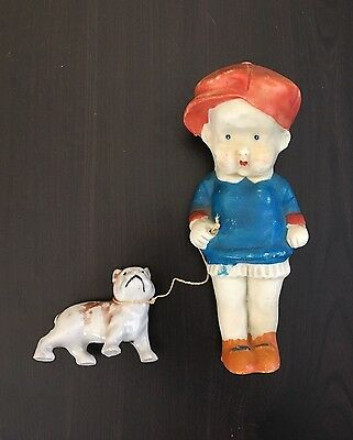 "Antique Bisque Boy with Bull Dog - Large 5"" Penny Doll Red Cap - Made in Japan"