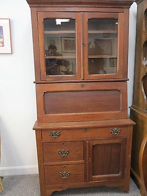 Antique Mahogany Secretary Desk with Keys - Primitive American Style