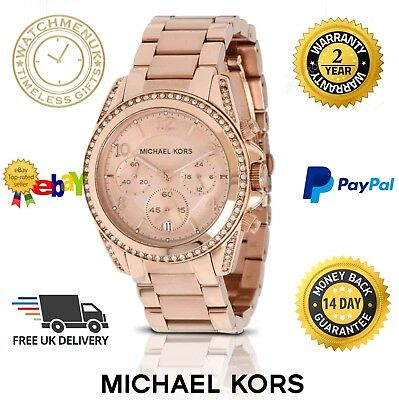 New Micheal Kors Mk5263 Blair Rose Gold Parker Chronograph Women's Ladies Watch
