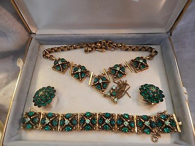 Vintage Juliana Jewelry Set D and E Style Necklace, Bracelet, Earrings 1940s