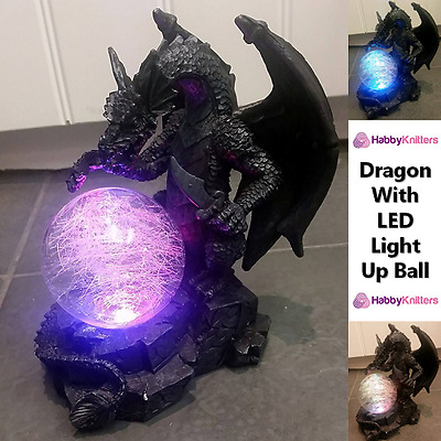 Dragon Ornament With LED Colour Changing Ball Mystic Fantasy Creature Figure