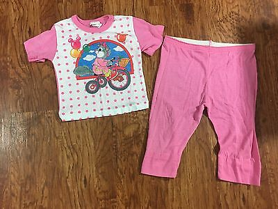 Dr Denton Pink Polka Dot Squirrel Tricycle Two Piece Pajamas Size 4T Vintage USA