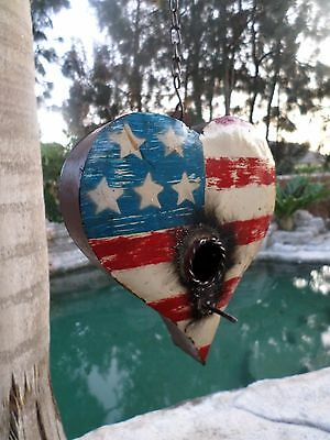 Mexican Recycled Rustic Distress Metal Yard Art American Flag Heart Birdhouse