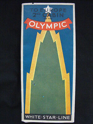 White Star Line Olympic Affiche-Brochure to Europe 2nd cabin 1929 RARE