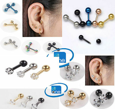 Helical Gem & Ball End Tragus Nose Lip Ear Eyebrow Fake Surgical Piercing Ring