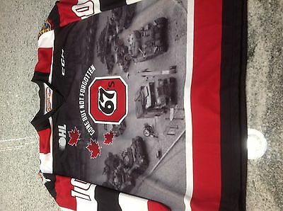 Ottawa 67's Game Worn Hockey Jersey Remembrance Day OHL CHL Armed Forces Tribute