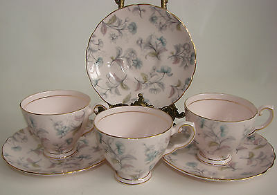 3 x Vintage Tuscan China Pink Floral Cups & Saucers
