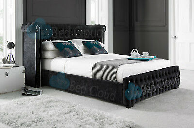 Vancouver 3FT Chesterfield Bed With Winged Headboard Various Colours & Fabrics