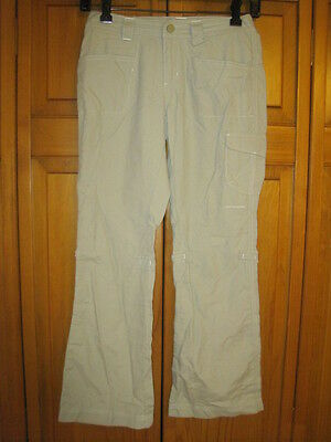 Columbia Omni-Dry lightweight hiking pants girls 10 tan camping outdoors