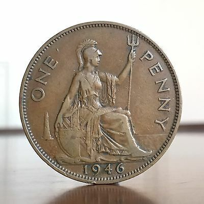 George VI, Penny, 1946. Stop After E In ONE On Reverse. Scarce Variety.