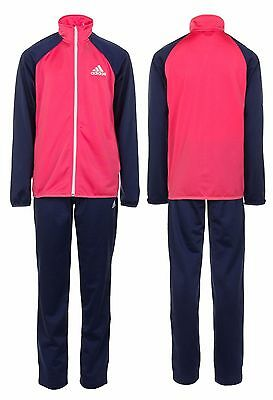 Adidas Girls Full Poly Tracksuit Pants Bottoms Jacket Top Blue Pink New Sealed