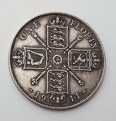 Dated : 1911 - Silver - One Florin / Two Shillings - Coin - King George V - Rare