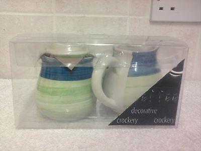 Decorative Ceramic Lime Green and Blue Cream Jug & Sugar Bowl