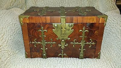 marine antiques -j 18th century captain's chest in beautiful rosewood w veneer.