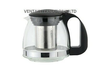 New Glass Teapot with Stainless Steel Infuser Filter Loose Leaf Teas 600ml