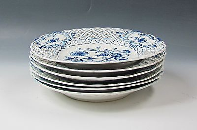 Set of 6 Meissen Reticulated Blue Onion Salad Plates Crossed Swords Mark (2nd)