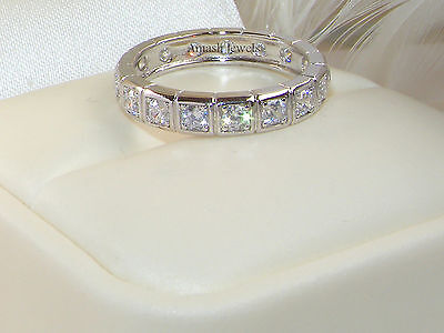 Solid 925 silver Chanel set Ring,wedding band,engagement ring,eternity Ring 7/O