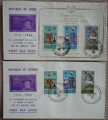 CYPRUS 1963 SCOUTS SET & MINIATURE SHEET on TWO RARE & FINE FDCs