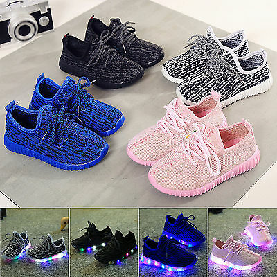 Best LED Light Up Kids Boys Girls Trainers Knitted Sneakers Luminous Shoes Size