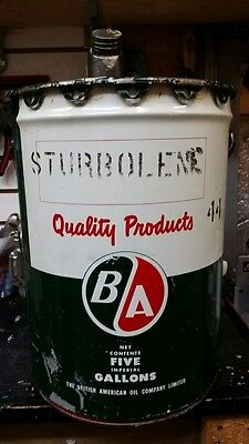 BA B A British American Sturbolene 44 Motor Oil Tin Can 5 Imperial Gallons