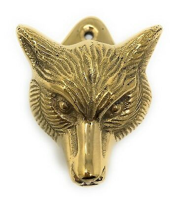 Fox Head Mini Door Knocker Textured Brass, 2.5T