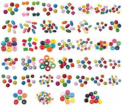 Colourful Wooden beads mixed, over 39 various forms and Selection of SIzes
