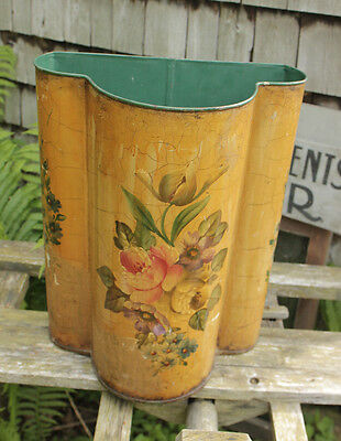 Hand Painted Floral Antique French Metal Tole Bin