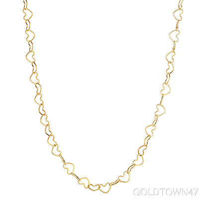 14kt Yellow Gold Shiny Open Heart Link Bracelet And Necklace with Lobster Clasp