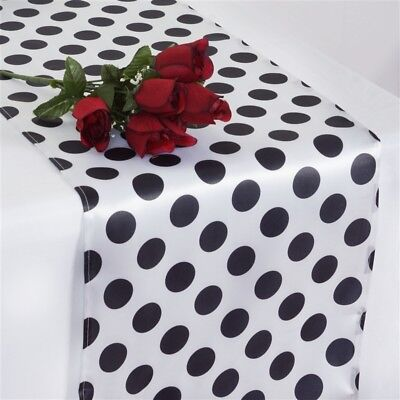 """10 Black and White SATIN Polka Dot 14x108"""" Table RUNNERS Wedding Decorations"""